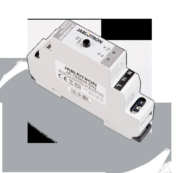 JA-150EM-DIN to bezprzewodowy licznik impulsów elektrycznych, zarządzany za pomocą aplikacji MyJablotron.