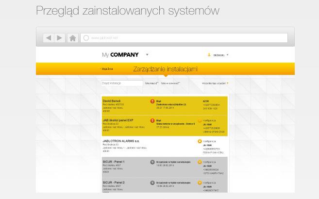 MyCompany - przegląd zainstalowanych systemów alarmowych Jablotron